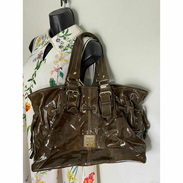 DOONEY & BOURKE Brown Large Leather Patent Tote Bag