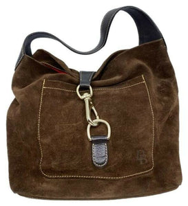 dooney and bourke brown suede leather hobo bag