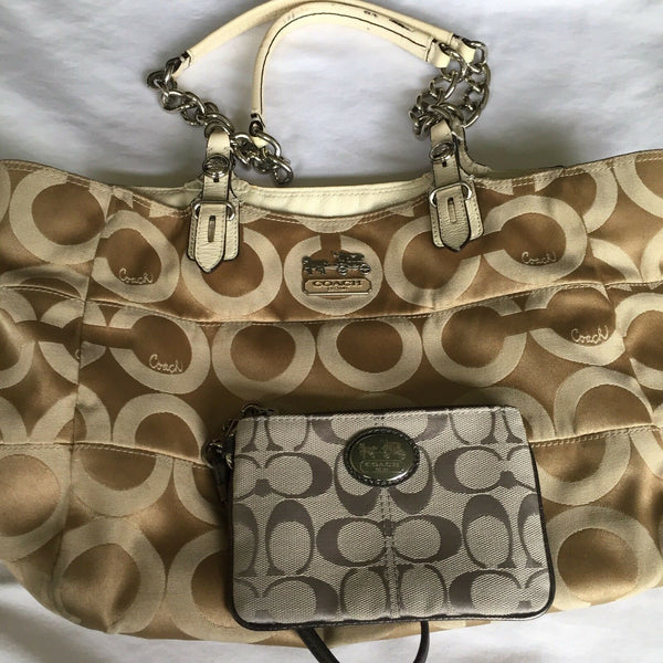 COACH Gold Jacquard Medium Tote W Silver Grey Pouch Msrp $400