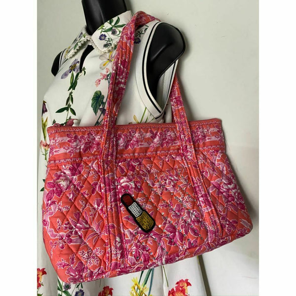 VERA BRADLEY Quilted Tote Bag w/ Wallet, customized and Bedazzled Red Purple