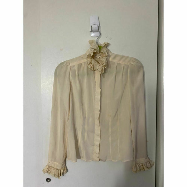 Oscar de la Renta Silk Long Sleeves Top Cream Size 6