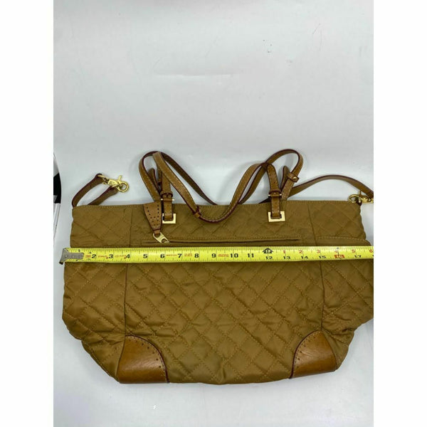 MZ WALLACE XL Light Brown Quilted Tote Bag w/ Leather Trim And Crossbody Strap