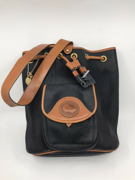 DOONEY & BOURKE Navy Leather Bucket Bag