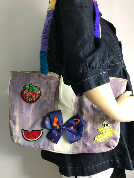 FENDI Vintage Tote Bag Customized W Bow tie and fruits