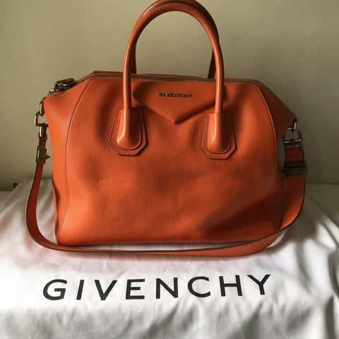 GIVENCHY Medium Antigona Orange Leather Msrp $2,500