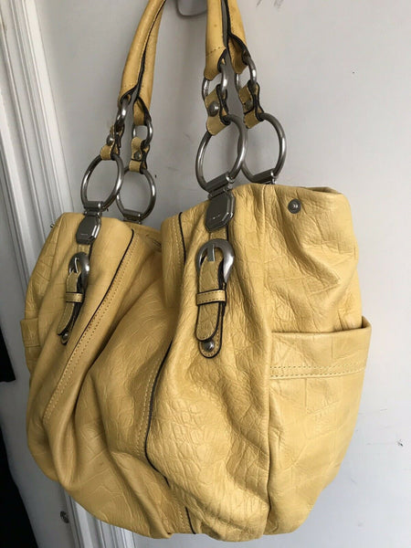 B Makowsky XLarge Yellow Leather Handbag With Silver O Ring Detail