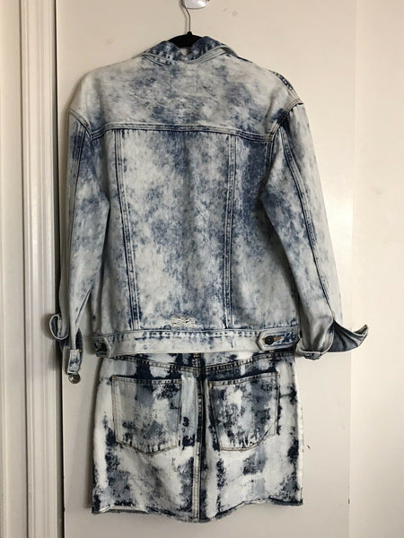 NWT John John Lab Acid wash Denim Jacket w/ Skirt Set