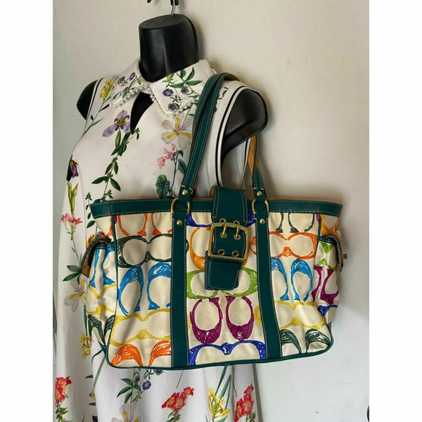 Coach Women's Large Multicolor Fabric Tote Bag