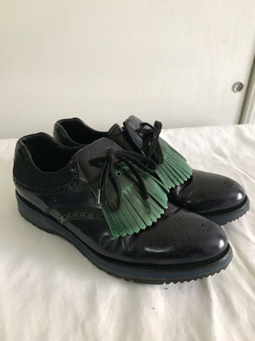 Prada Navy/Green Perforated Leather Oxfords