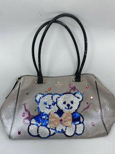 Kate Spade Large Leather Tote Customized With Bear Applique And Graffiti