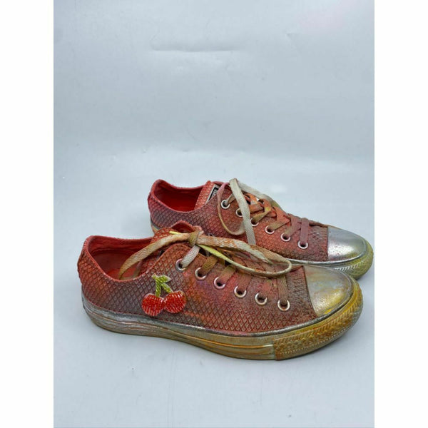 Converse Sneakers Customized with Orange Silver Yellow Graffiti Women's Size 7