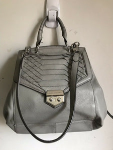 Aimee Kestenberg Grey Flap Bag With Silver Metal Hardware