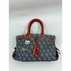 DOONEY & BOURKE Blue Red Tan Tote Bag Customized w/ Applique Embellishment