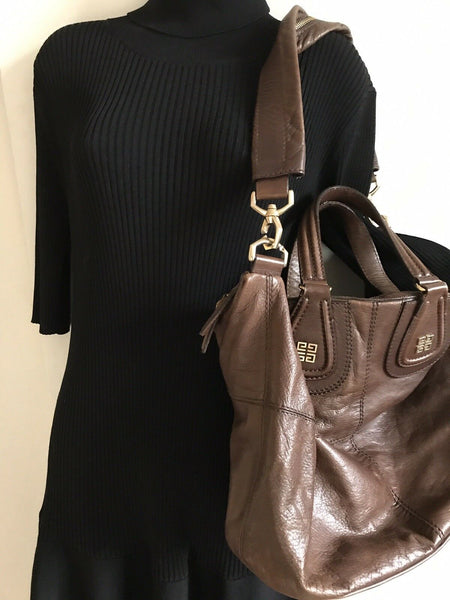 GIVENCHY Brown Leather Nightingale Handbag Msrp $2,200