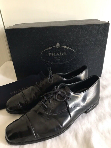 Prada Black Leather Lace-Up Oxfords