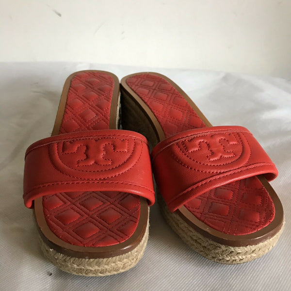 TORY BURCH Orange lamb Leather Slip On Sandals 6.5