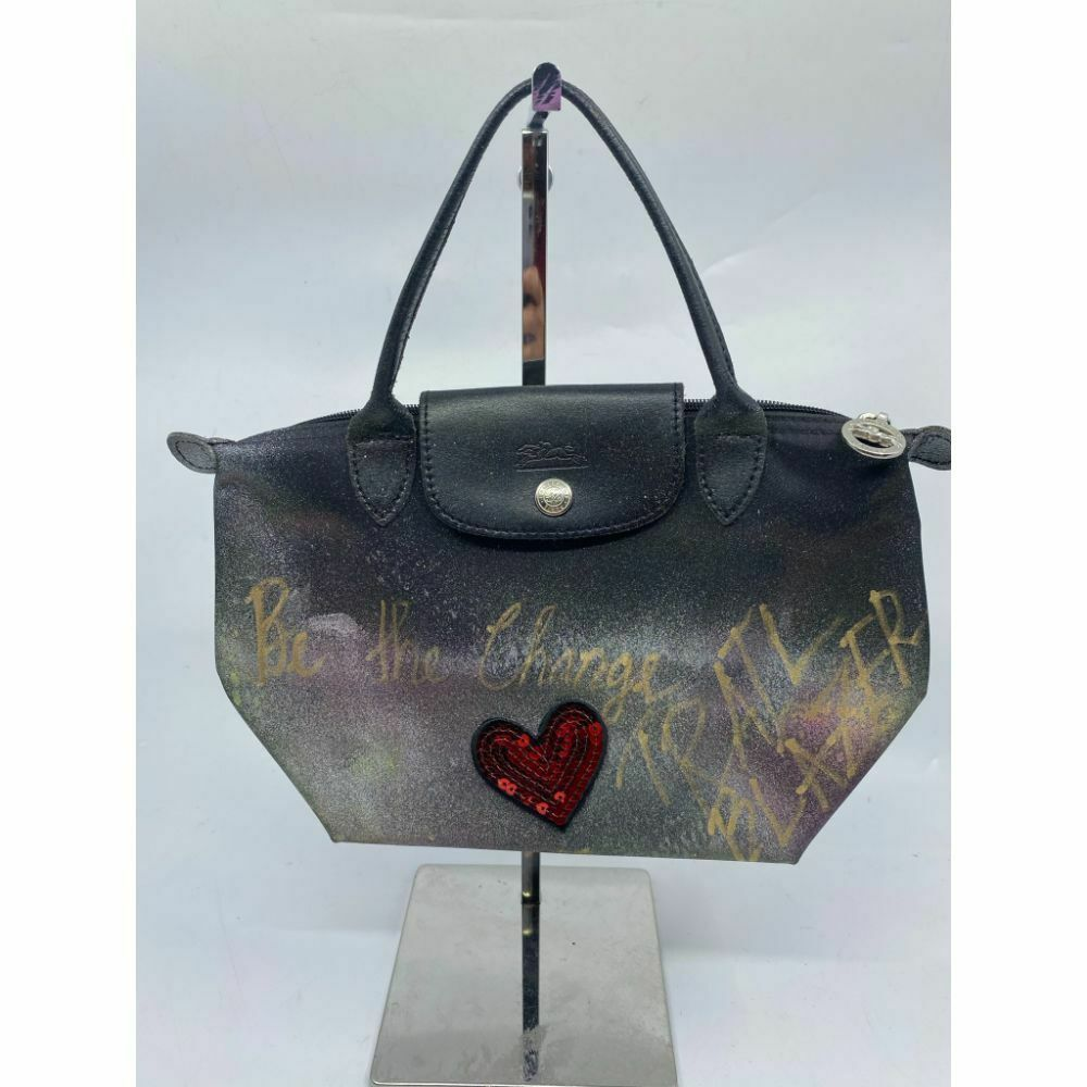 Longchamp Black Customized W/ Multicolor Trailblazer Graffiti