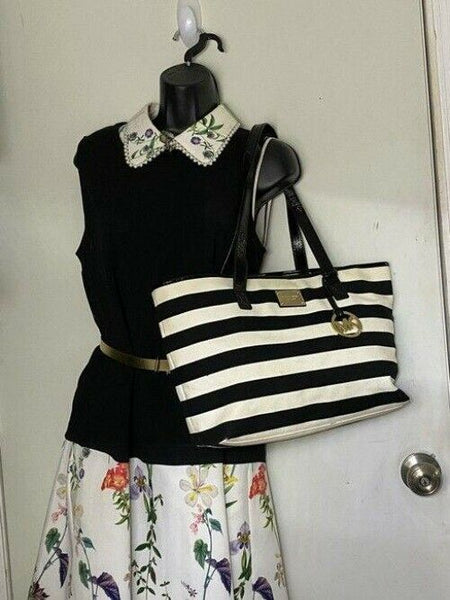 michael kors shopping nautical fabric black white canvas tote