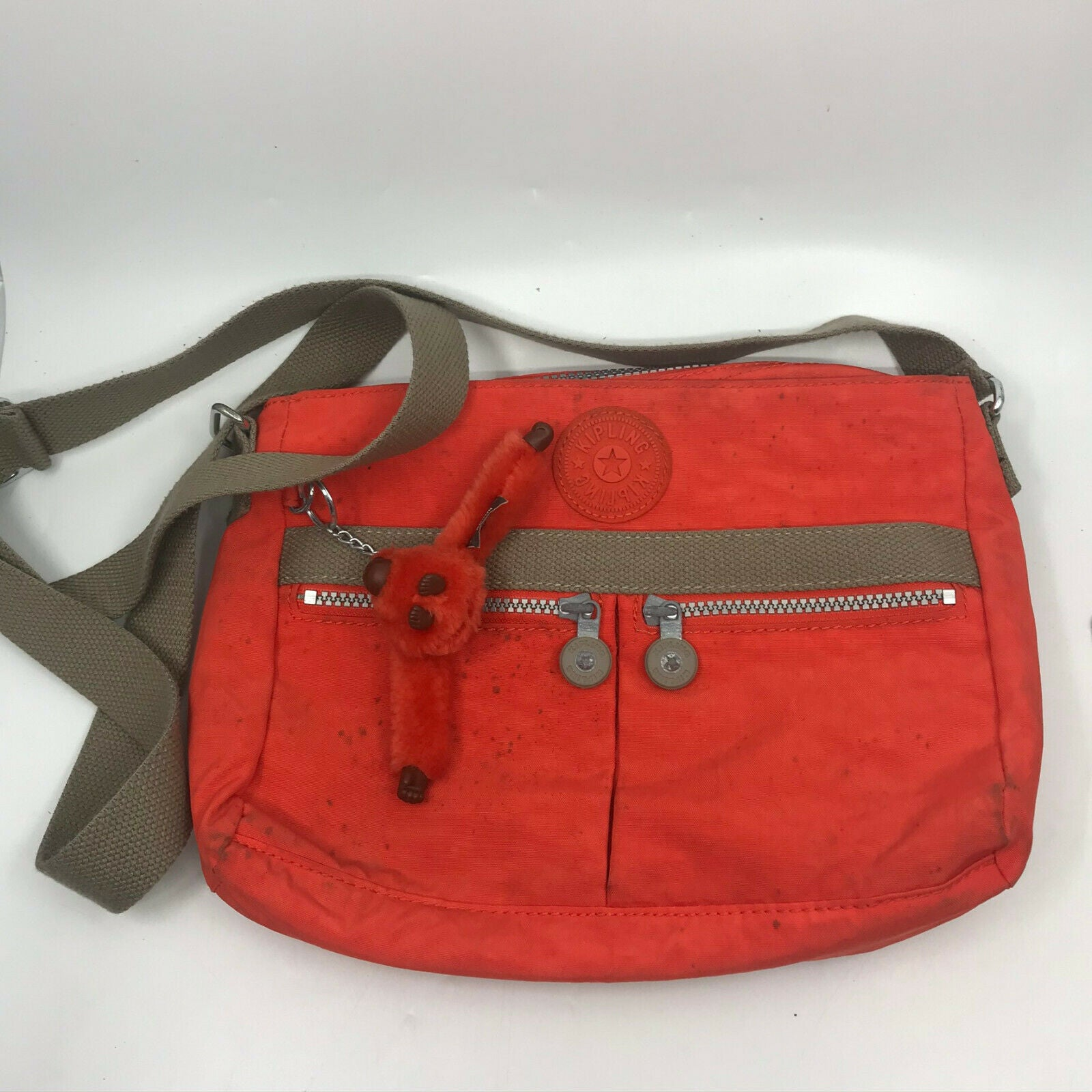 Kipling Orange Nylon Medium Size Crossbody Bag