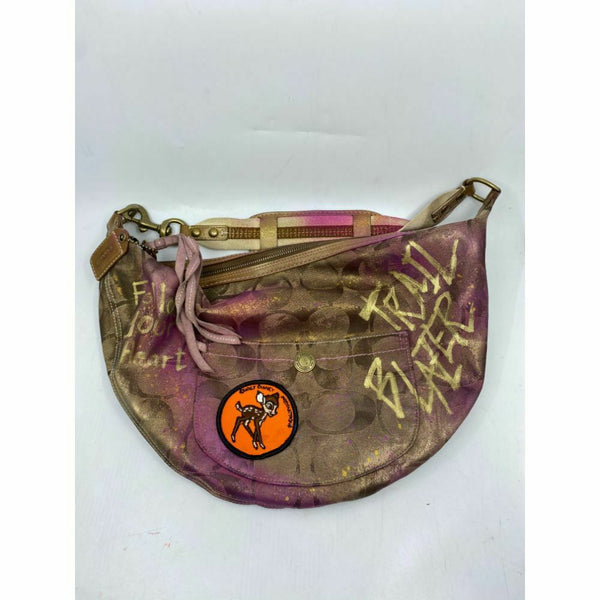 COACH Fabric Hobo Bag Customized with cosmic Ombré and Vintage Patch