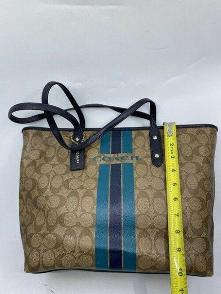 coach shopping beige navy coated canvas tote