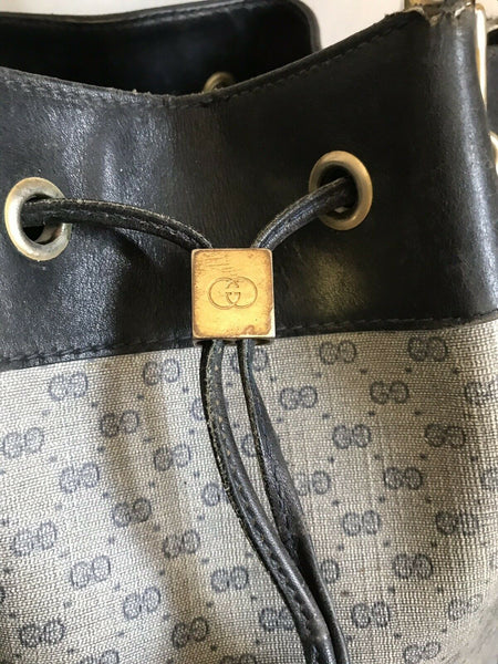 Gucci Vintage Large Navy Bucket Drawstring Monogram Logo Bag