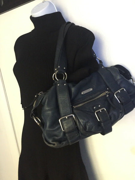 MICHAEL KORS Navy Leather bowling bag