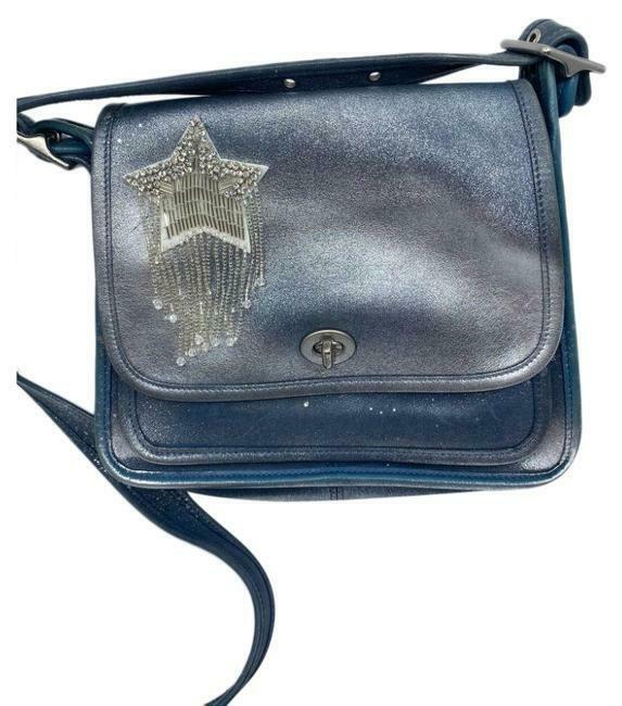 COACH Vintage Leather Crossbody Bag W/ Customized Appliqués Embellishment Blue