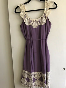 Milly Purple Silk Slip Dress With Crochet Trim Sz 4