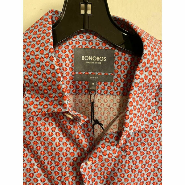 BONOBOS Gray Red Printed Long Sleeve Button Down Shirt Size M