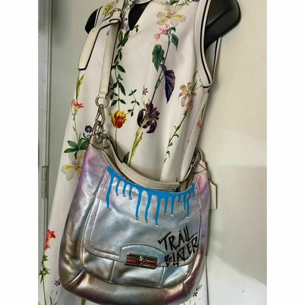 Coach Leather Crossbody Multicolor Customized W Grafffi and Swarovski Crystal