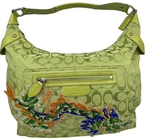 coach bag customized by me applique green orange jacquard fabric tote