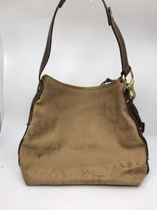RALPH LAUREN Medium Brown Fabric Logo Tote