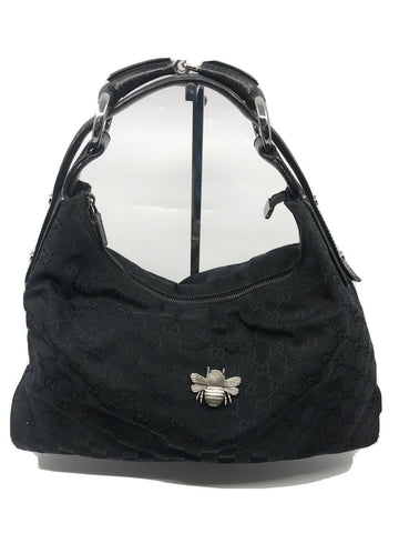 GUCCI Black Hobo Bag W/ Customized Vintage Bee