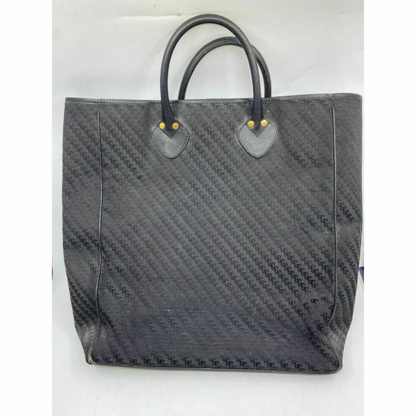 GUCCI XL Vintage Tote Bag Black Jacquard Fabric w/ Leather Trim