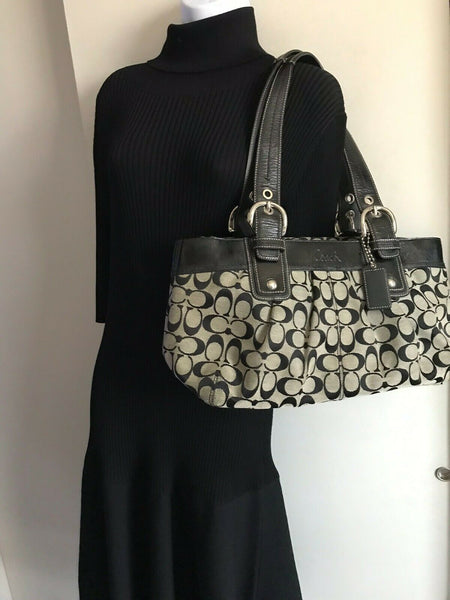 Coach Black Interwoven Fabric Tote Bag
