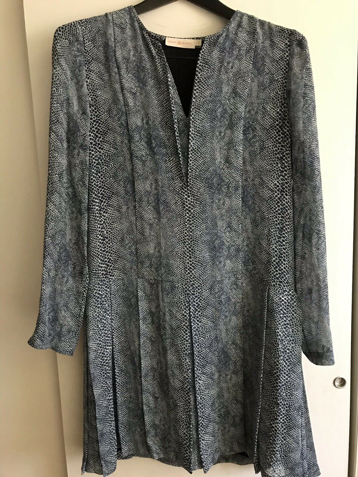 TORY BURCH Snake Print Silk LS  Dress