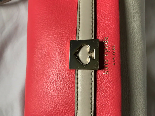 KATE SPADE Fuschia/ Cream Leather Crossbody