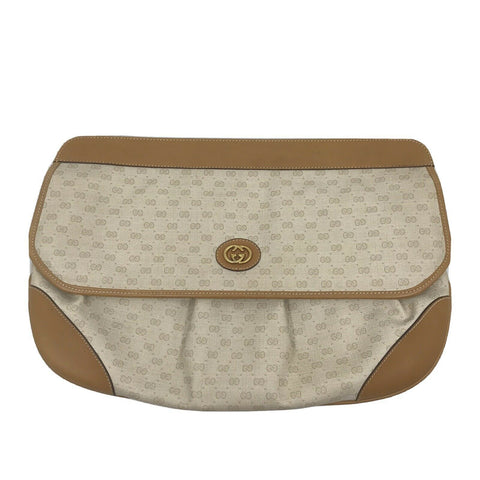 GUCCI Vintage Beige All Over Logo Clutch Bag
