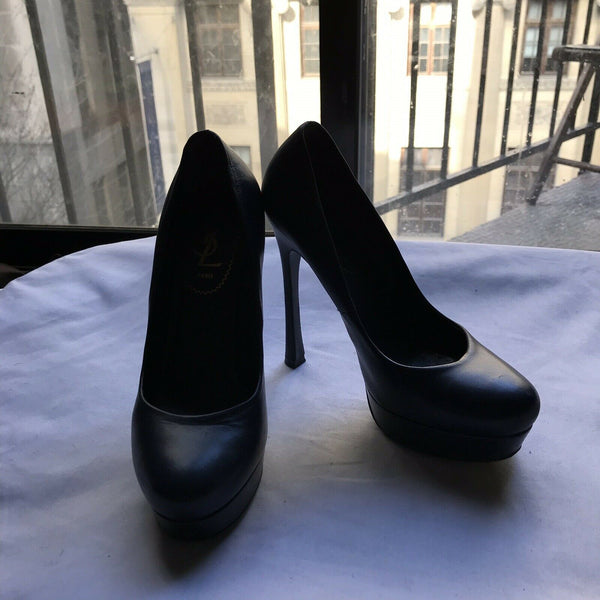 YSL Yves Saint Laurent Classic Navy leather High heels 6.5