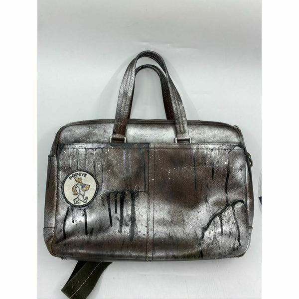 COACH Vintage Leather Brief Case Customized with Vintage Appliqué and Graffiti