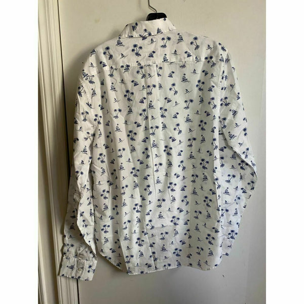 BONOBOS Blue White Printed Long Sleeve Button Down Shirt Size M