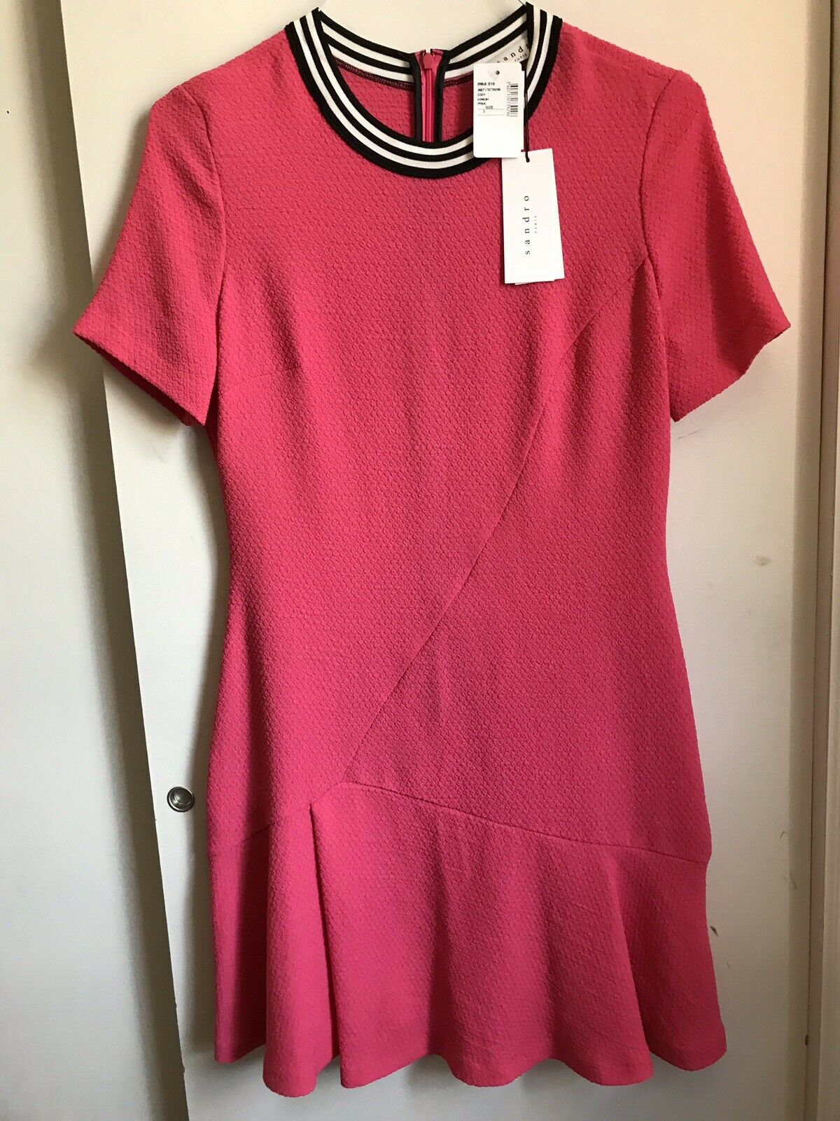 NWT! SANDRO Pink SS Dress W/ Athletic Stripe Detail Msrp $355