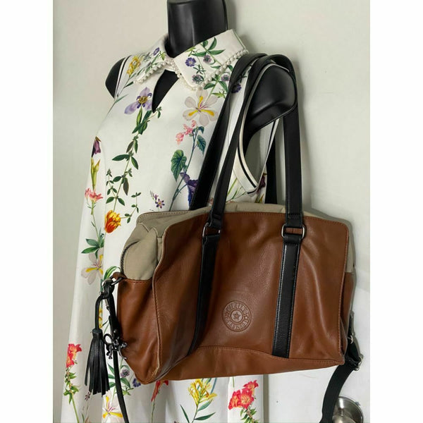 Kipling Brown Large Leather Shoulder Bag