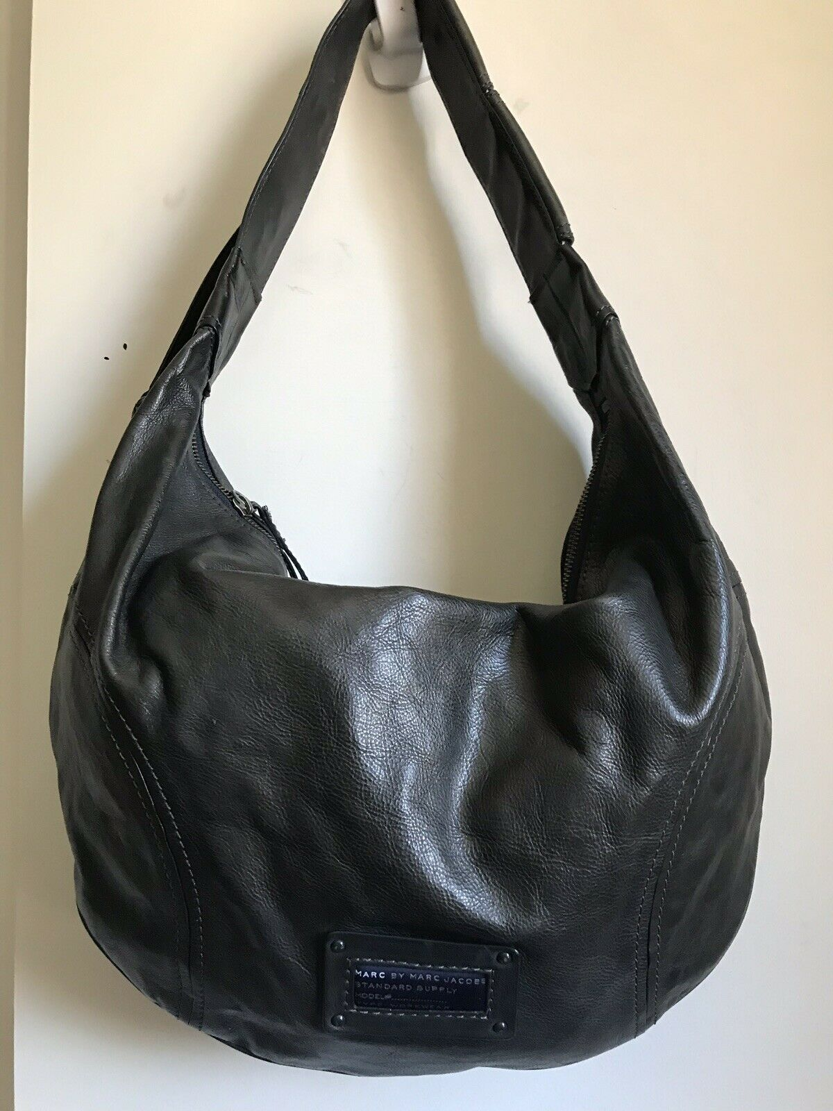MARC JACOBS Dark grey Large Leather Hobo Bag