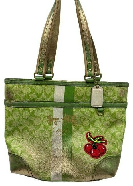 COACH Customized w/ Applique Green Shoulder Bag