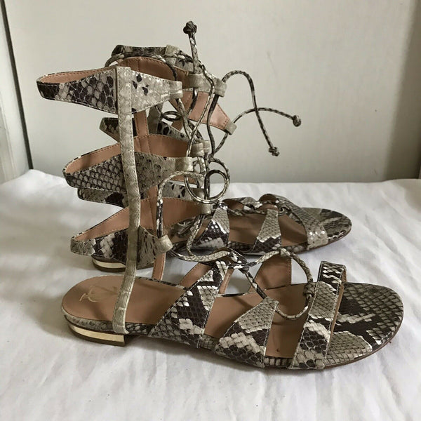 Vince Camuto Snake Print Leather Gladiator Sandals Sz 9