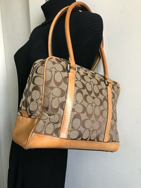 Coach Brown/ Khaki Signature Jacquard Fabric Handbag