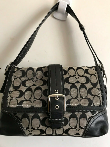 Coach Black Fabric Signature hand bag