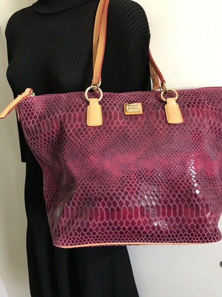 DOONEY & BOURKE XL Pink Snake Print Leather  tote